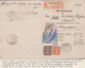 Actes judiciaires - 1901 Citation avec un mélange de timbres fiscaux pour le timbre et des timbres-postes. Collection Pierre Jaquenoud