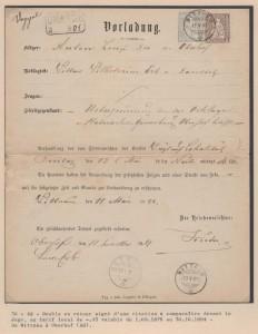 Actes judiciaires : 1881 Double en retour signé par le prévenu