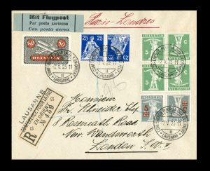 Cachet postal conférence de paix 1922-23 sur lettre recommandée pour Londres