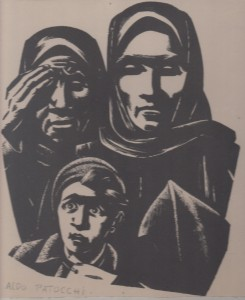 Gravure d'Aldo Patocchi Fils,mère et grand-mère