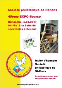 Flyer pour l'Expo-Bourse no 45/2017 de la SPR, salle de spectacle Renens
