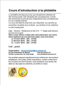 Cours introduction philatélique Renens 2018
