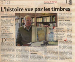 Article Journal de Morges 24.2.1017 Histoire vue par les timbres