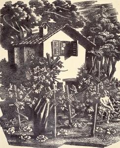 Gravure d'Aldo Patocchi La Bella al bagno 1947