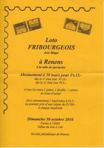 Affiche pour le loto fribourgeois dans la salle de spectacles à Renens le 30 octobre 2016