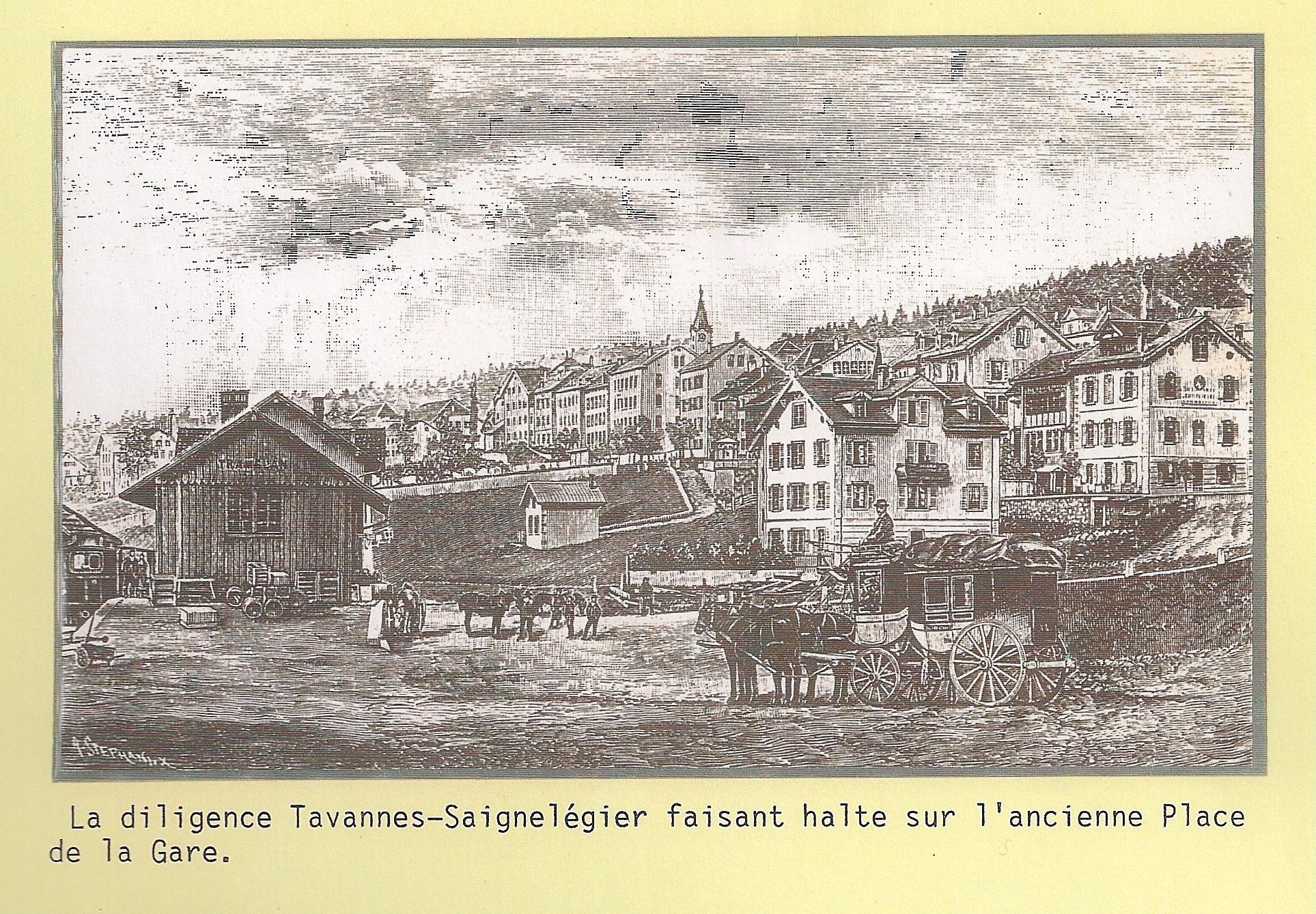 Diligence sur l'ancienne Place de la gare à Tramelan