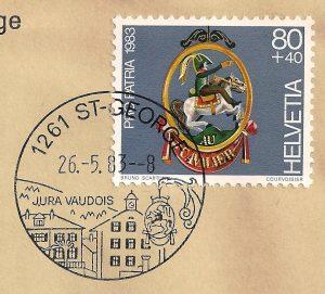 """Timbre ProPatria de 1983 représentant l'enseigne """"Au Cavalier"""" à St.George"""
