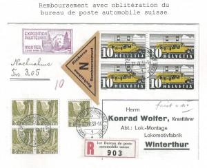 Remboursement oblit.bureau de poste automobile Conf.H.Widmer du 23.1.2015
