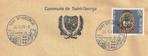 blason de la Commune de St.George, le timbre Pro Patria 1983 et le cachet touristique avec l'enseigne.