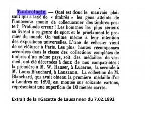 """Extrait d'un article sur la Timbrologie de la """"Gazette de Lausanne"""" du 7 février 1892"""