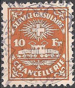 Il existe des timbres fiscaux cantonales spécifiques pour des usages telles que obligations, activités boursières, etc. Ici au niveau Suisse le service consulaire , 10 Fr. avec l'image d'une locomotive crocodile, utilisé par les ambassades suisses à l'étranger.