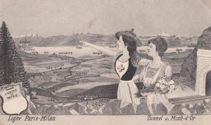 Coll. J-P. Jaccard / La Vaudoise montre à la Française le trajet vers le Simplon vers l'Italie.