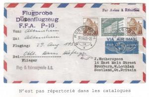 Lettre de 1959 transporté lors d'un essai avec un avion à réaction en 1955. Conf.H.Widmer 23.1.2015